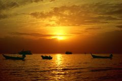 Beautiful sunset in Sairee Beach, Koh Tao, Thailand royalty free stock images