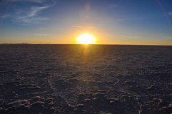 Beautiful sunset in Salar de Uyuni, Bolivia Stock Photo