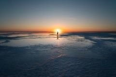 Beautiful sunset on the salt lake El`ton stock photos