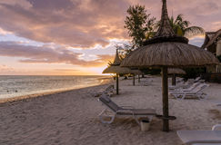 Beautiful sunset on a sandy beach in Mauritius Royalty Free Stock Photos