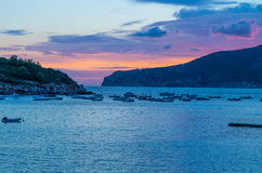 Beautiful sunset in Sant Elm at GR 221, Mallorca, Spain Royalty Free Stock Images