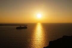 Beautiful sunset at Santorini island, Cyclades in Greece. Royalty Free Stock Images