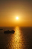 Beautiful sunset at Santorini island, Cyclades in Greece. Royalty Free Stock Image