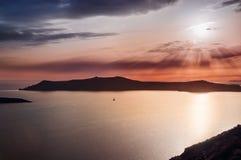 Beautiful sunset on Santorini island, Greece Royalty Free Stock Photography