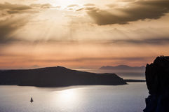 Beautiful sunset on Santorini island, Greece Royalty Free Stock Images