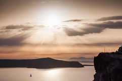 Beautiful sunset on Santorini island, Greece Royalty Free Stock Photography