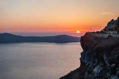 Beautiful sunset on Santorini island, Greece Royalty Free Stock Photos