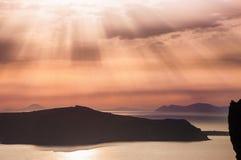 Beautiful sunset on Santorini island, Greece Stock Images