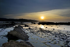 Beautiful sunset on Sawarna Royalty Free Stock Photos