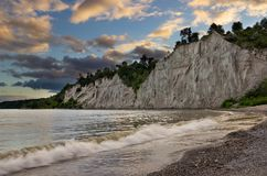 Sunset at Scarborough Bluffs, Toronto. A beautiful sunset at Scarborough Bluffs beach in Toronto, Canada. Scarborough bluffs are unique cliffs formed by lime Royalty Free Stock Photo