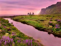 A beautiful sunset landscape scene in Iceland. royalty free stock photography
