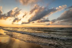 A beautiful sunset by the sea.  royalty free stock photo