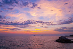 Beautiful sunset. In the sea Stock Images