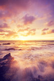 Beautiful Sunset sea beach glowing Stock Images