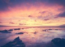 Beautiful Sunset sea beach glowing Stock Photo