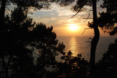 Beautiful sunset on the  sea. Beautiful sunset on the black sea Royalty Free Stock Photos