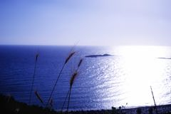 Beautiful sunset sea blue color water summer. Herbs blue color water sea summer sunlight shadow outdoors sky royalty free stock image