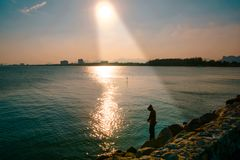 Beautiful sunset on the sea. royalty free stock images