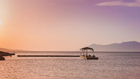 Beautiful sunset by the sea in Makarska, Dalmatia, Croatia Royalty Free Stock Photo