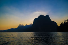 Beautiful sunset and sea and mountain looklike  island in Suratthani Royalty Free Stock Images