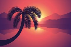 Beautiful sunset on the sea with palm tree stock illustration