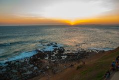 Beautiful sunset on the sea. Panoramic view of Barra Lighthouse in Salvador, Bahia, Brazil. South America royalty free stock photo