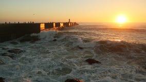 Beautiful sunset on Sea pier. Nature. Beautiful sunset on Sea pier stock footage