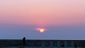 Beautiful sunset. The beautiful sunset by the sea at Piran, Slovenia stock photos