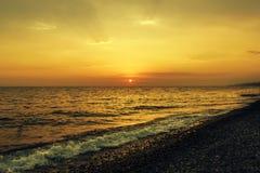 Beautiful sunset on the sea. Summer background. stock photo