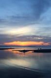 Beautiful sunset on the sea Stock Photos