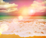 Beautiful sunset on the sea at twilight times - Vintage Filter royalty free stock images