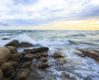 Beautiful sunset and sea waves Stock Images