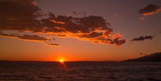 Beautiful sunset seascape with clouds in Paklenica Croatia royalty free stock photography