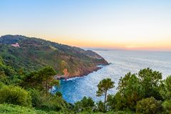 Beautiful sunset seascape in San Sebastian or Donostia, Spain. Basque country stock images