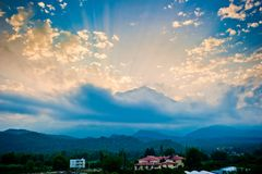 Beautiful sunset in shades of blue mountain Stock Photos