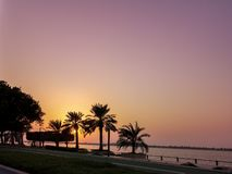 Beautiful sunset silhouette photo of palm trees - orange and purple sky royalty free stock images