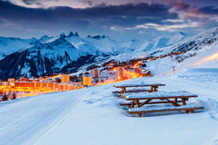Beautiful sunset and ski resort in the French Alps,Europe. Majestic winter sunrise landscape and ski resort in French Alps,La Toussuire,France,Europe Stock Image