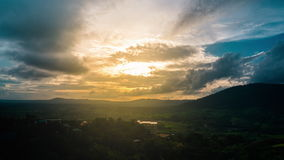 Beautiful Sunset Sky Above The Green Valley. stock footage