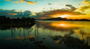 Beautiful sunset sky at bang pra water reservoir lake chonburi t Royalty Free Stock Photography