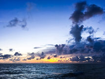Beautiful sunset sky and calm. In Bang Khun Thian Sea thailand stock photos