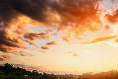 Beautiful sunset sky with clouds and sun light above green trees Stock Image