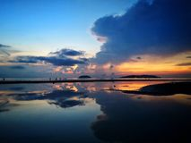 Beautiful sunset with sky mirror royalty free stock photography