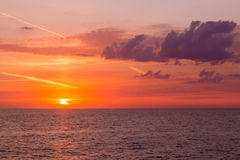 Beautiful sunset sky over the Atlantic ocean Stock Photography