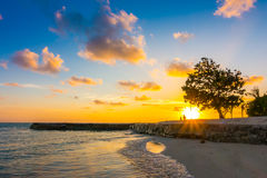 Beautiful sunset with sky over calm sea in tropical Maldives isl. And Royalty Free Stock Photos