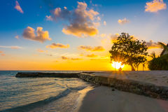 Beautiful sunset with sky over calm sea in tropical Maldives isl. And Royalty Free Stock Photo