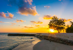 Beautiful sunset with sky over calm sea in tropical Maldives isl. And Royalty Free Stock Photography
