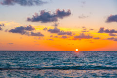 Beautiful sunset with sky over calm sea  in tropical Maldives is Royalty Free Stock Photo