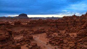 Beautiful Sunset Sky over the Goblin Valley Time-lapse. Bird's eye view of the Goblin Valley at Sunset with colorful sky above Time-lapse stock video