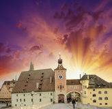 Beautiful sunset sky over medieval city skyline. Middle-Age buil Royalty Free Stock Photo