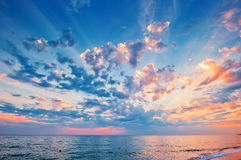 A beautiful sunset sky over the sea Royalty Free Stock Photography